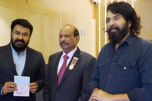 Actors Mammootty Mohanlal receive Golden Visa from UAE govt