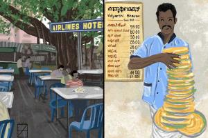 Coffee at Airlines flowers at KR Market This illustrator captures Bengaluru