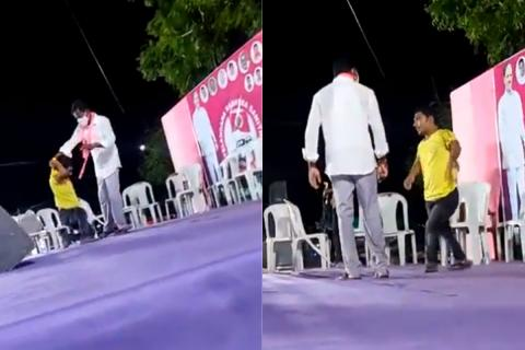 TRS activist seen roughing up a differently abled person