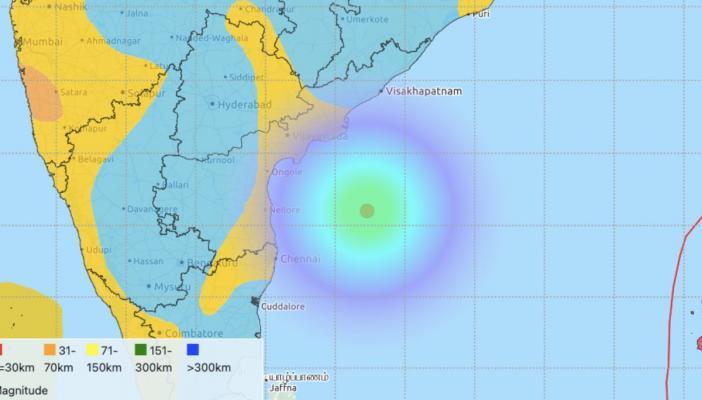 Seismic map of earthquake in Kakinada