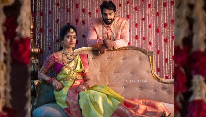 Karthikeya engagment picture with lohitha, where the couple were wearing traditional outfit