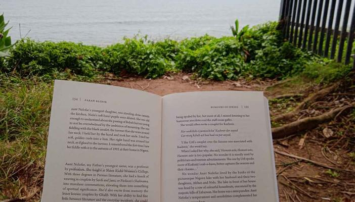 A book opened and held against the distant sea during an afternoon