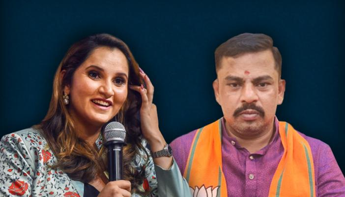 A collage of Sania Mirza talking into the mic with her hand through her hair, and BJP's Raja Singh